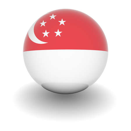 3D Ball with Flag of Singapore. High resolution 3d render isolated on white. Editorial