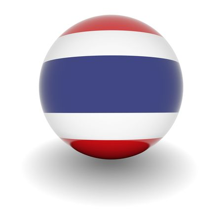 national colors: 3D Ball with Flag of Thailand. High resolution 3d render isolated on white.
