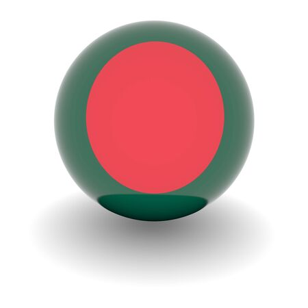 national colors: 3D Ball with Flag of Bangladesh. High resolution 3d render isolated on white.