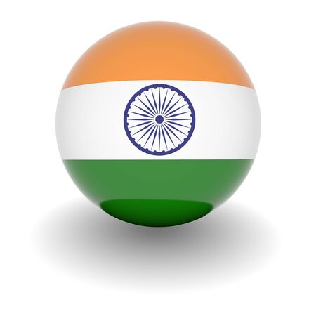 3D Ball with Flag of India. High resolution 3d render isolated on white. Stock Photo