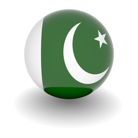 pakistan: 3D Ball with Flag of Pakistan. High resolution 3d render isolated on white. Stock Photo