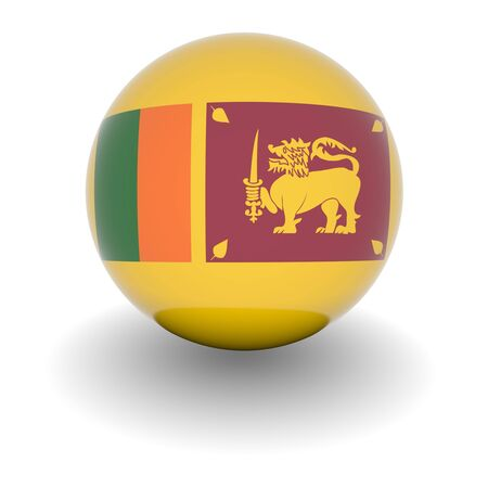 3D Ball with Flag of Sri Lanka. High resolution 3d render isolated on white. photo