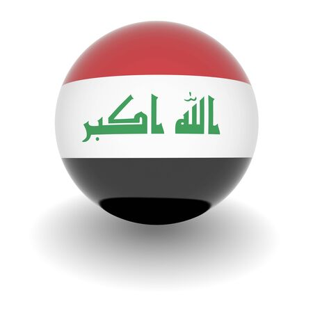 3D Ball with Flag of Iraq. High resolution 3d render isolated on white. photo