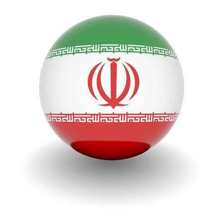 iran: 3D Ball with Flag of Iran. High resolution 3d render isolated on white.
