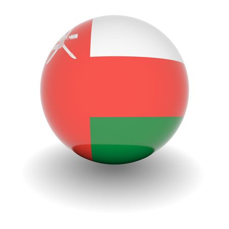 oman background: 3D Ball with Flag of Oman. High resolution 3d render isolated on white.