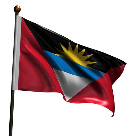 barbuda: Flag of Antigua and Barbuda. High resolution 3d render isolated on white with fabric texture.
