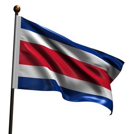 Flag of Costa Rica. High resolution 3d render isolated on white with fabric texture. Stock Photo