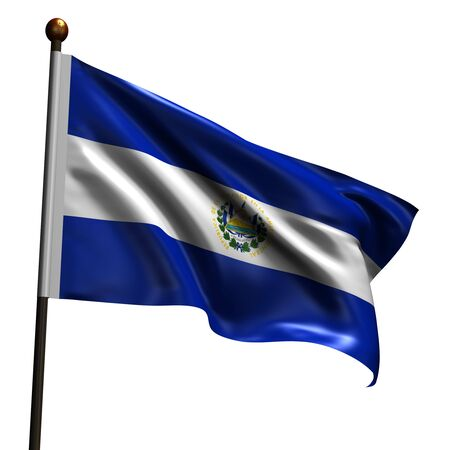 Flag of El Salvador. High resolution 3d render isolated on white with fabric texture. photo