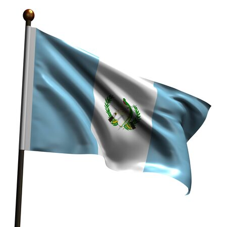 Flag of Guatemala. High resolution 3d render isolated on white with fabric texture. photo