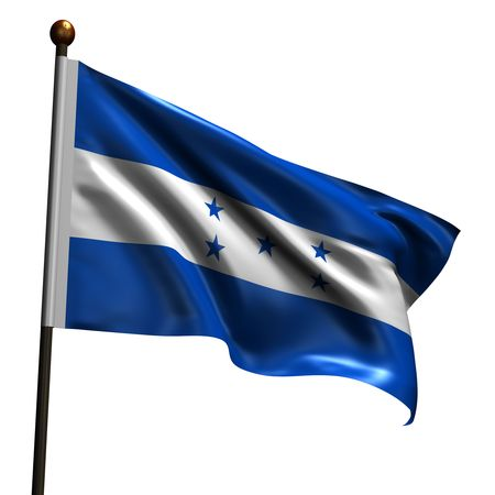 Flag of Honduras. High resolution 3d render isolated on white with fabric texture.