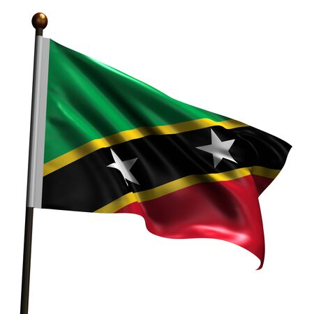 Flag of Saint Kitts and Nevi. High resolution 3d render isolated on white with fabric texture. Stock Photo - 5456516