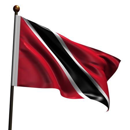 Flag of Trinidad and Tobago. High resolution 3d render isolated on white with fabric texture. photo