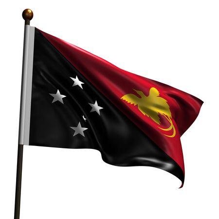 Nuova Guinea: Bandiera della Papua Nuova Guinea. 3D ad alta risoluzione rendono isolato su bianco con la trama del tessuto.