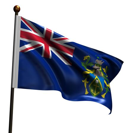 pitcairn: Flag of Pitcairn Islands. High resolution 3d render isolated on white with fabric texture.