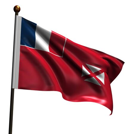 wallis: Flag of Wallis and Futuna. High resolution 3d render isolated on white with fabric texture. Stock Photo