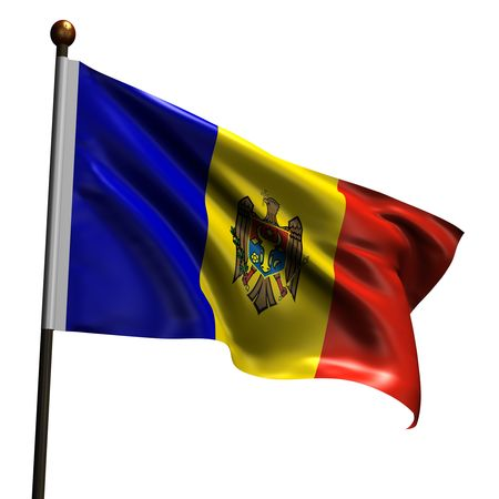 Flag of Moldova. High resolution 3d render isolated on white with fabric texture. Stock Photo - 5456517
