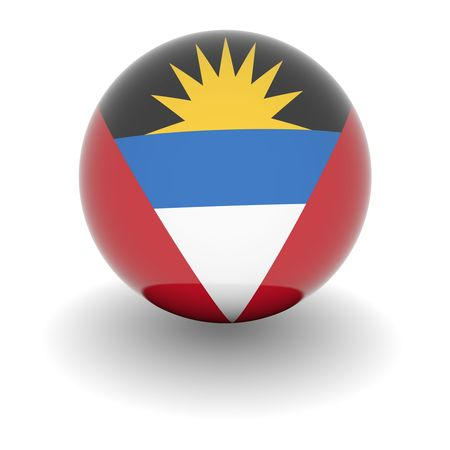 antigua barbuda: 3D Ball with Flag of Antigua and Barbuda. High resolution 3d render isolated on white. Stock Photo