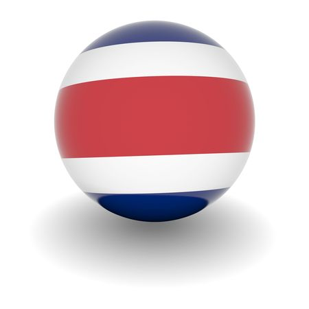 3D Ball with Flag of Costa Rica. High resolution 3d render isolated on white. Stock Photo - 5456559