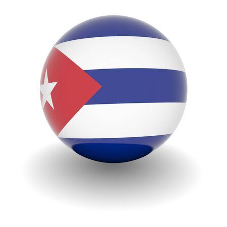 bandera cuba: Ball 3D con la bandera de Cuba. Procesamiento 3d de alta resoluci�n aislado en blanco.