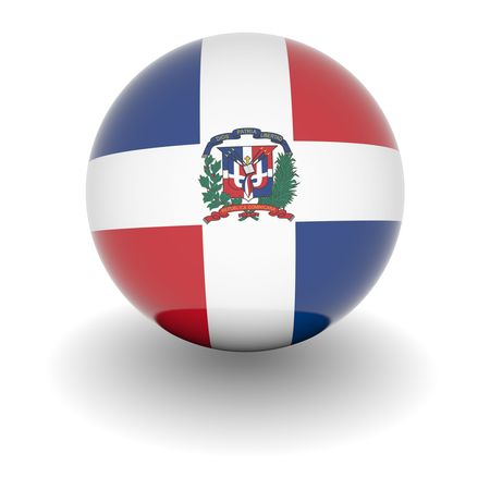 dominican republic: 3D Ball with Flag of Dominican Republic. High resolution 3d render isolated on white.