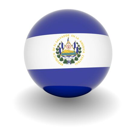 el salvador flag: 3D Ball with Flag of El Salvador. High resolution 3d render isolated on white. Stock Photo
