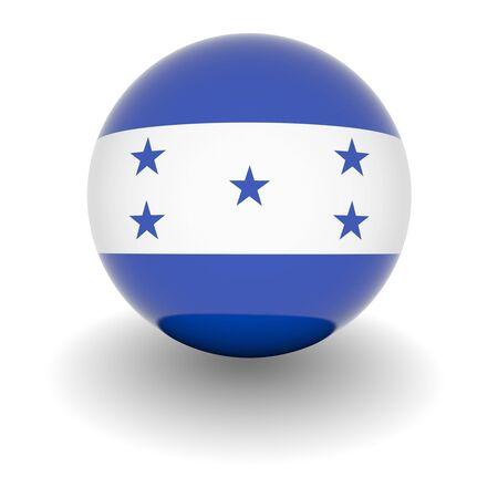 bandera honduras: Ball 3D con bandera de Honduras. Procesamiento 3d de alta resoluci�n aislado en blanco.