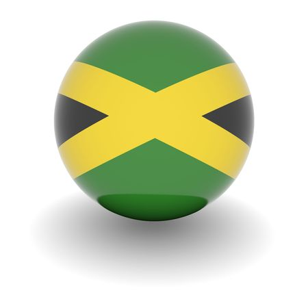 jamaica: 3D Ball with Flag of Jamaica. High resolution 3d render isolated on white.