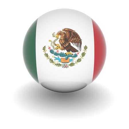 3D Ball with Flag of Mexico. High resolution 3d render isolated on white.