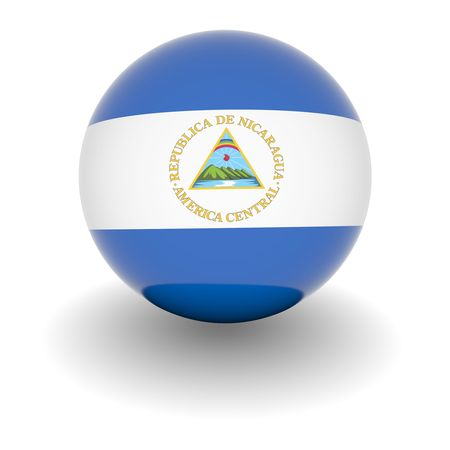 Nicaragua: 3D Ball with Flag of Nicaragua. High resolution 3d render isolated on white. Stock Photo