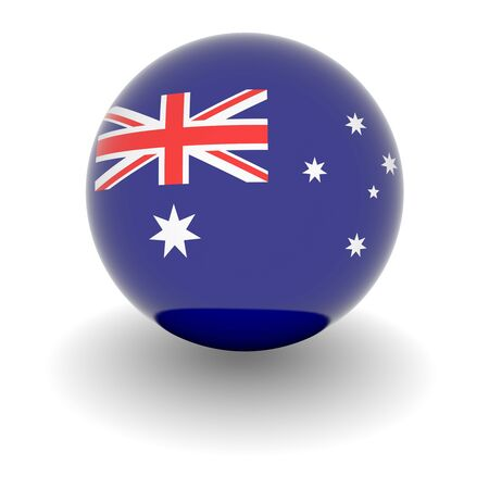 3D Ball with Flag of Australia. High resolution 3d render isolated on white.