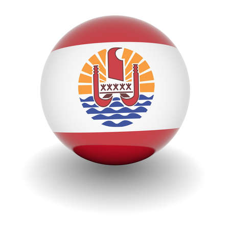3D Ball with Flag of French Polynesia. High resolution 3d render isolated on white. photo