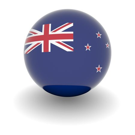 new zealand flag: 3D Ball with Flag of New Zealand. High resolution 3d render isolated on white.