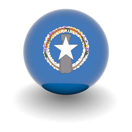 mariana: 3D Ball with Flag of Northern Mariana Islands. High resolution 3d render isolated on white.