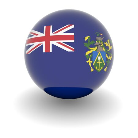 pitcairn: 3D Ball with Flag of Pitcairn Islands. High resolution 3d render isolated on white.