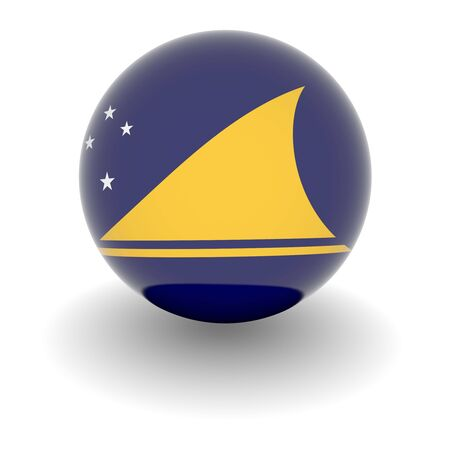 tokelau: 3D Ball with Flag of Tokelau. High resolution 3d render isolated on white. Stock Photo