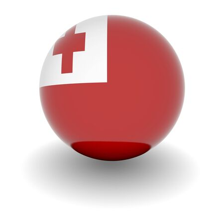tonga: 3D Ball with Flag of Tonga. High resolution 3d render isolated on white.
