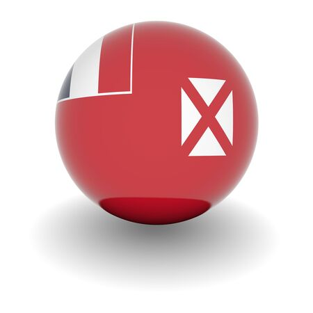 wallis: 3D Ball with Flag of Wallis and Futuna. High resolution 3d render isolated on white.