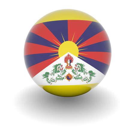 tibet: 3D Ball with Flag of Tibet. High resolution 3d render isolated on white. Stock Photo