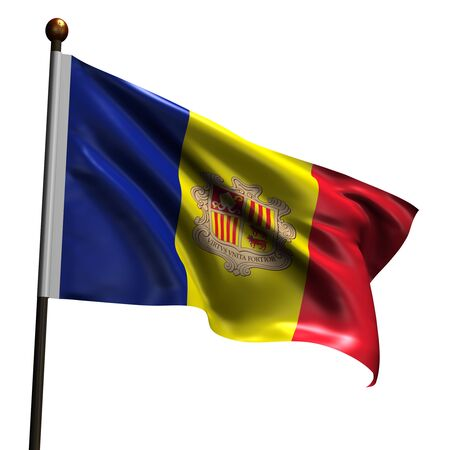 Flag of Andorra. High resolution 3d render isolated on white with fabric texture. photo