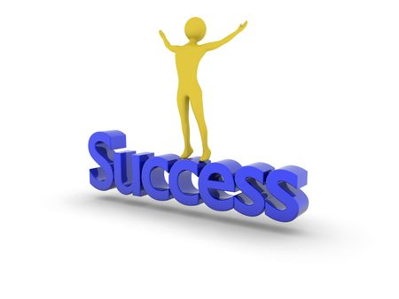 jubilate: Success achieved.High Resolution 3D render isolated on white. Stock Photo