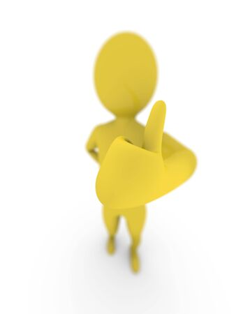 the depth: Thumb up with depth of field. High resolution 3D render Stock Photo