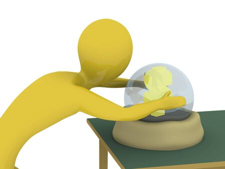 Man looking in crystal ball seeing money. High resolution 3D render photo