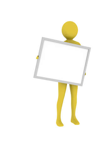 Man holding empty presentation board with copy space. High resolution 3D render photo