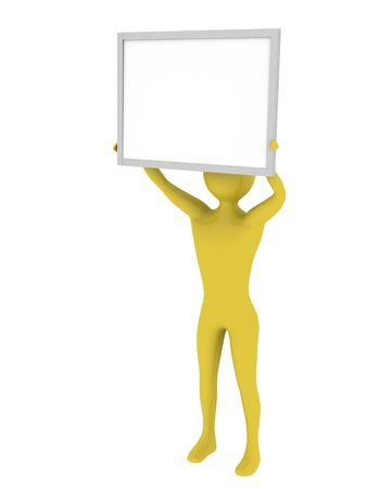 Man holding empty presentation board with copy space. High resolution 3D render Stock Photo - 5673436