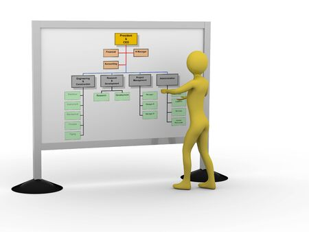 Businessman showing diagram. High resolution 3D render Stock Photo