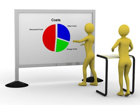 Businessman showing pie chart. High resolution 3D render Stock Photo - 5673471