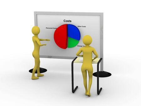 Businessman showing pie chart. High resolution 3D render Stock Photo - 5673463