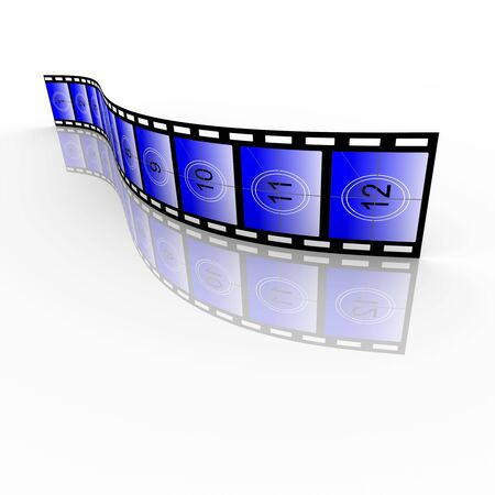 motion picture: Countdown film strip. High resolution render isolated on white