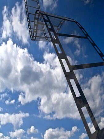 Empty film strip. High resolution render with sky background Stock Photo - 5708868