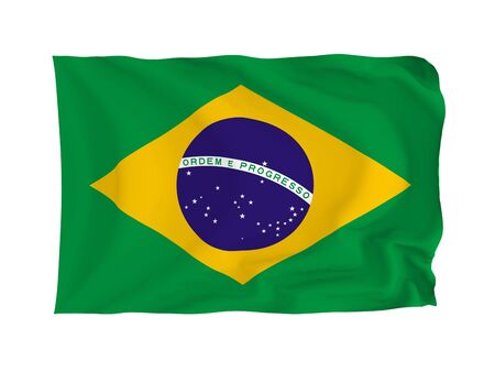 rippling: Brazil. High resolution Flag series. With fabric texture. Stock Photo